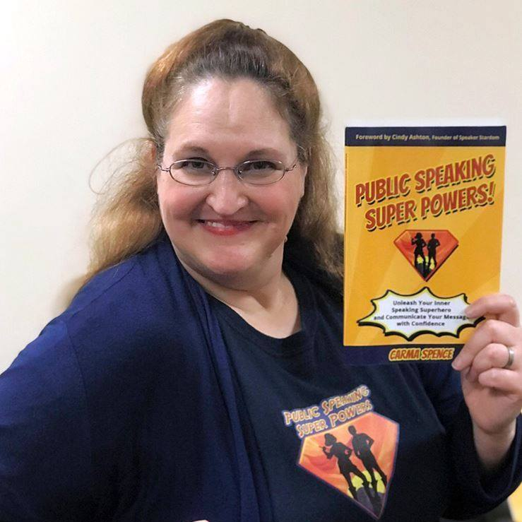Carma posing with Public Speaking Super Powers